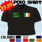 100 % IRISH ST PATRICKS DAY IRELAND T POLO SHIRT